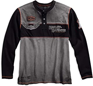 Harley-Davidson Official Men's Iron Block Henley, Grey