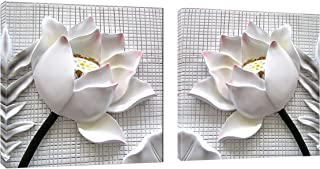 Juntung Canvas Wall Art White Lotus Flowers 2 Piece Canvas Art Blossom Contemporary Artwork for Home Decoration Office Wall Decor