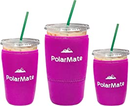 3 Pack Reusable Iced Coffee Sleeve | Insulator Cup Sleeve for Cold Drinks Beverages | Neoprene Cup Holder | Ideal for Starbucks, McDonalds, Dunkin Donuts & More (Pink)
