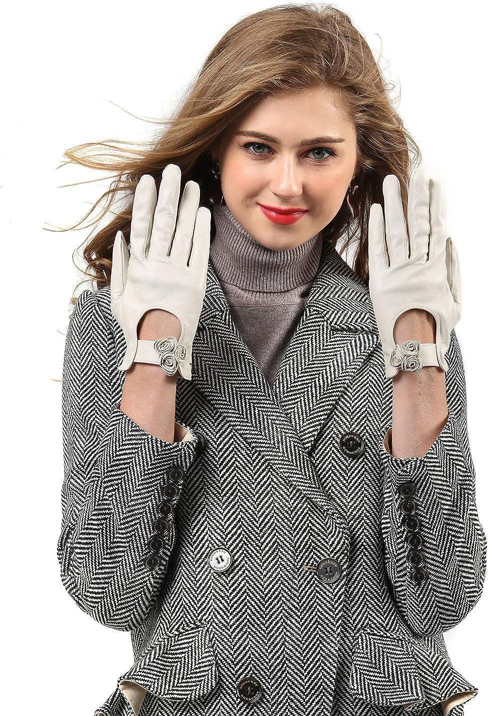 YISEVEN Women's Touchscreen Sheepskin Leather Gloves White Bow