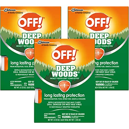 OFF! Deep Woods Mosquito and Insect Repellent Wipes, Long lasting, Individually Wrapped Wipes, 12 Count (Pack of 3)