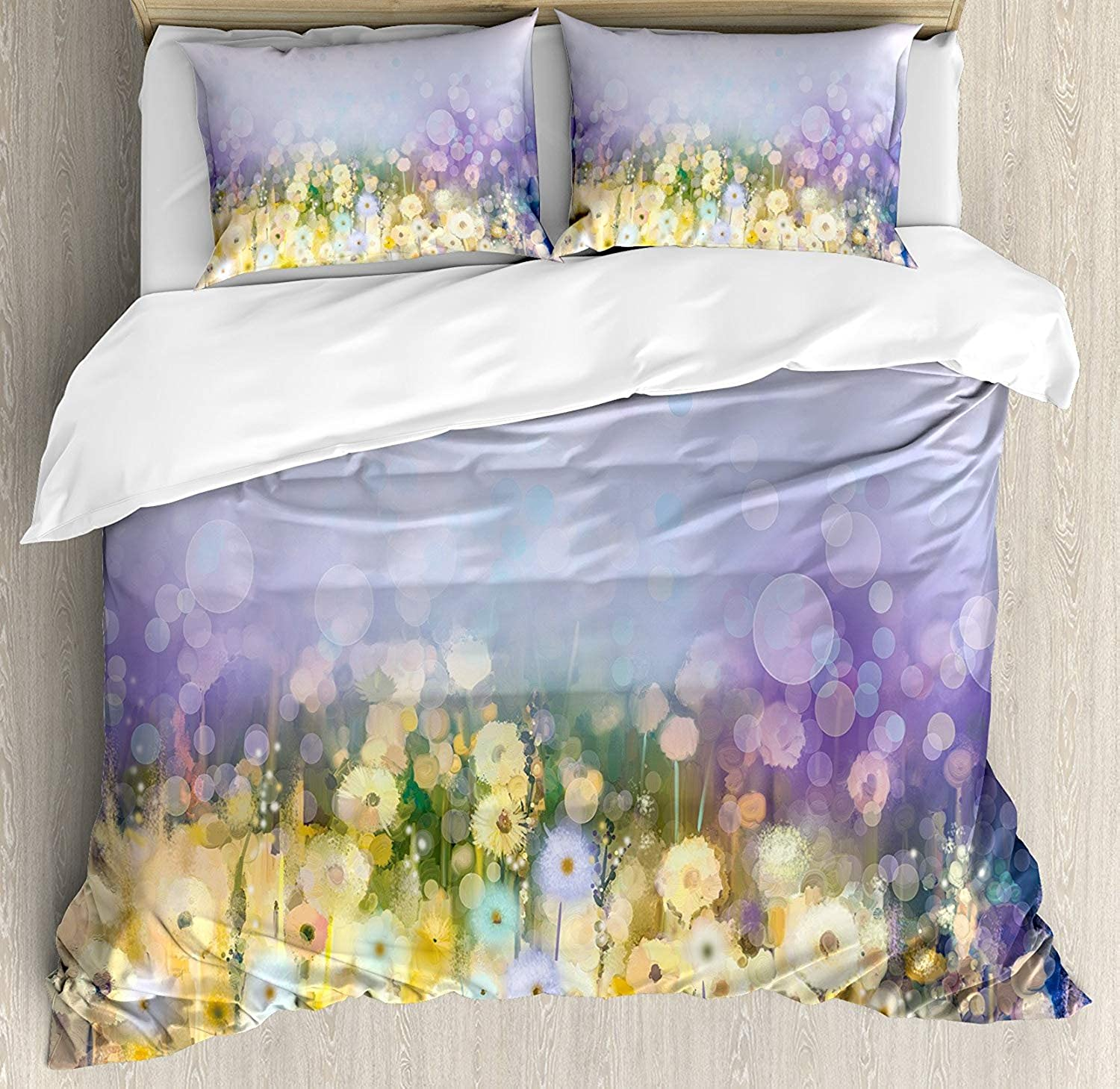 OxOHome Flower Bedding SetsChamomile Dandelion Field Meadow Landscape in Contrasting colors Idyllic View Duvet Cover Sets Yellow Purple Twin Bedding Comforter Cover Sets Soft Bedding Collections