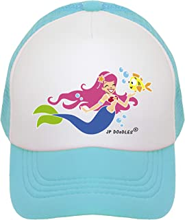 JP DOoDLES Mermaid Hat Kids Trucker Hat. Baseball Mesh Back Cap fits Baby, Toddler and Youth