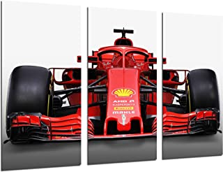 Tableau Moderne Photographique, Impression sur bois, Voiture de formule 1, Ferrari F1 SF71-H, Ferrari F1 2018, Sebastian V...