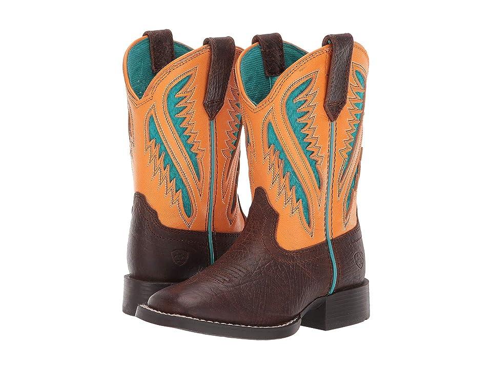 Ariat Kids Quickdraw Venttek (Toddler/Little Kid/Big Kid) (Dark Chocolate/Flame Orange) Cowboy Boots