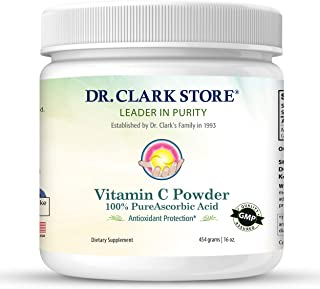 DrClark Vitamin C Powder Ascorbic Acid - Immune Support Supplement, Gluten Free, Potent antioxidant, Supports Brain Functi...