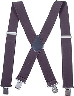 Men Utility Adjustable Elastic Suspenders - Heavy Duty 2 Inches Wide X-back Strong Clip Casual Suspender (Coffee-1)