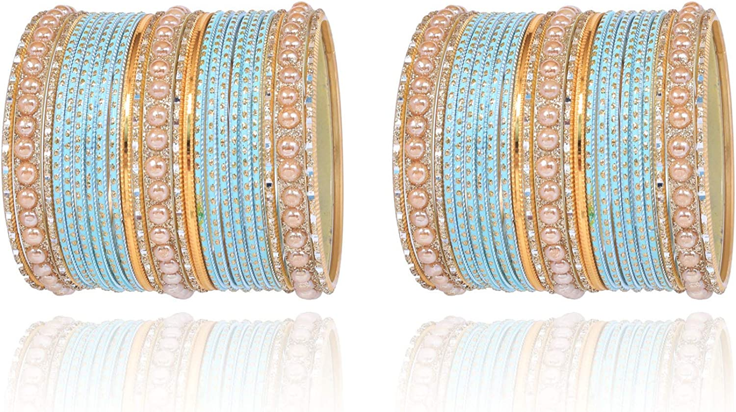 Sukh Collection Jewellery New Colorful 44 Bangle Collection Indian Bollywood Alloy Metal Textured Designer Jewelry Special All Size Bangle Bracelets Set of 44 in Gold Tone for Women
