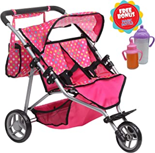 Exquisite Buggy, Twin DOLL Jogger Stroller with Diaper Bag, PINK / POLKA DOTS designed With a Carriage Bag and 2 FREE Magic Bottles Included (Fits Bitty Twins Dolls )