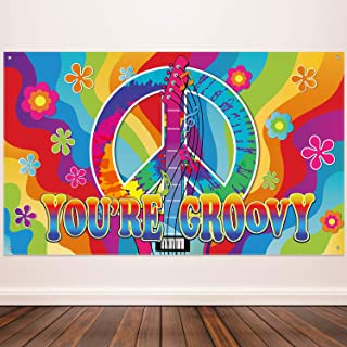 60`s Theme Party Decorations, Groovy Sign 60`s Party Scene Setters Wall Decoration 60s Photo Backdrop Banner with Rope for Hippie Theme Groovy Party, 72.8 x 43.3 Inch