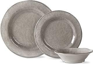 tag - Lanai Melamine Set Of 12, Durable & Stylish Dining Ware, Gray