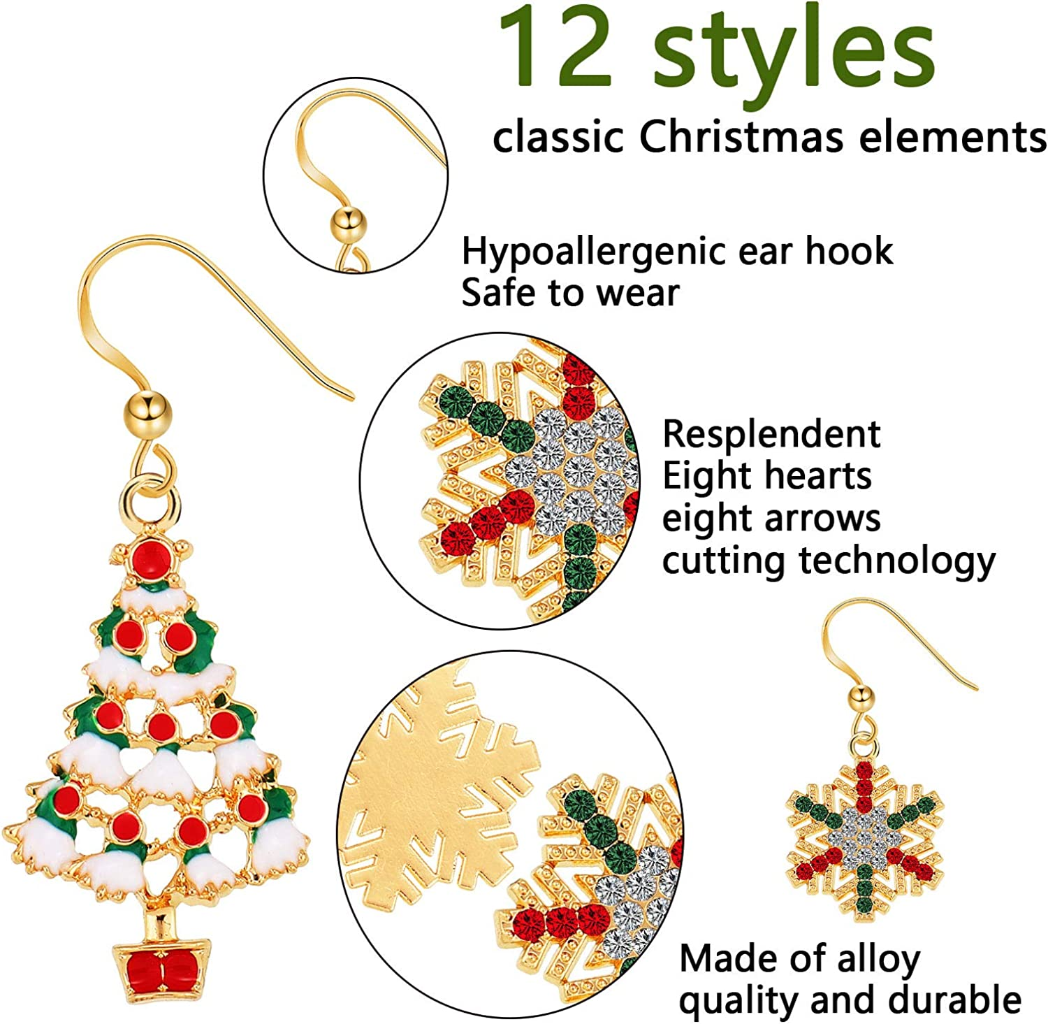 Yaomiao Christmas Jewelry Set Xmas Earrings and Necklaces Jewelry Snowman Snowflake Santa Claus Christmas Tree Holiday Dangle Pendants Earrings Set for Women Girls