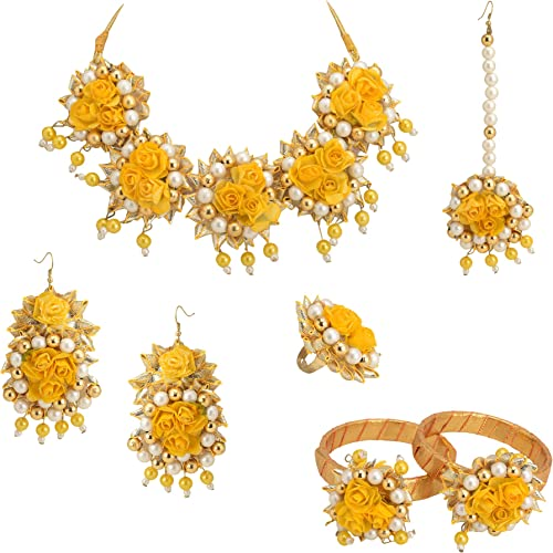 Flower Jewellery Set for Women and Girls Haldi Baby Shower Mehndi Godbharai Gota Patti Necklace Set with Maang Tikka Earrings Bangles Finger Ring Haldi Fashion Jewellery