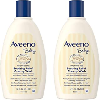 Aveeno Baby Soothing Relief Creamy Wash with Natural Colloidal Oatmeal for Dry & Sensitive Skin, Hypoallergenic & Tear-Free Formula, 12 fl. oz (Pack of 2)
