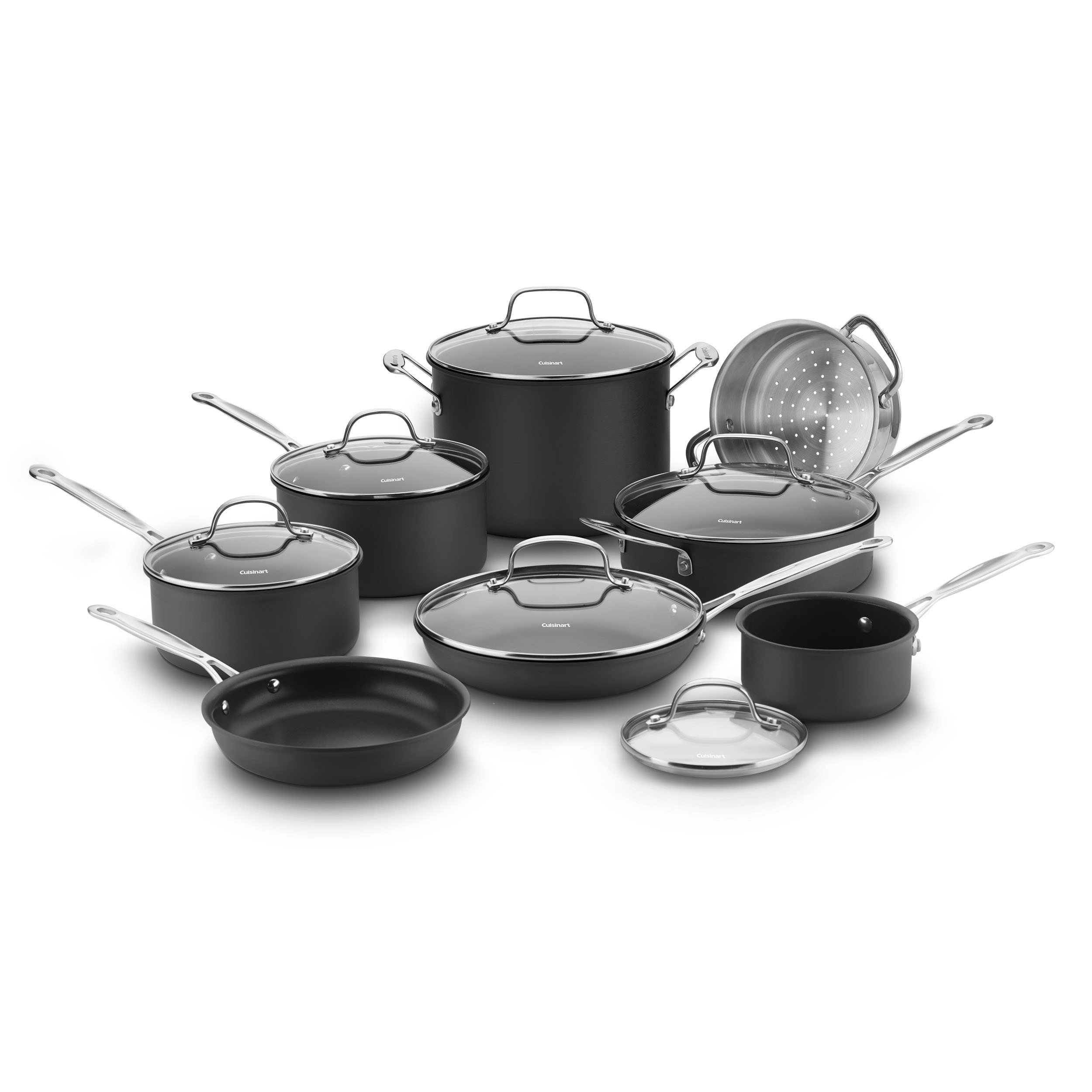Cuisinart 14 Piece Chef's Classic Non-Stick Hard Anodized Cookware Set, Gray