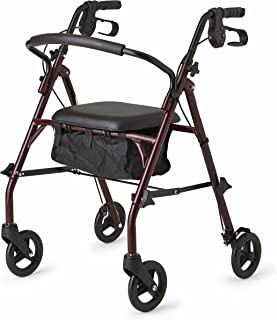 Healthcare Direct 100RA Steel Rollator Walker with 350 lb. Weight Capacity, Burgundy