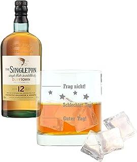 Whiskey 2er Set, Singleton Of Dufftown 12 Years / Jahre, Malt, Whisky, Scotch, Alkohol, Alkoholgetränk, Flasche, 40%, 700 ml, 736610, Geschenk zum Vatertag, mit graviertem Glas