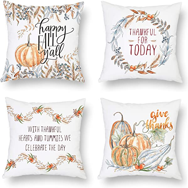 BLUETTEK Fall Pillow Covers Set Of 4 18 X 18 Inch Happy Thanksgiving Day Pumpkin Throw Pillows Autumn Farmhouse Harvest Maple Leaves Cushion Cases