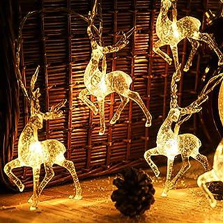 Yaosh Łańcuch świetlny LED z reniferem, na baterie, dekoracja świąteczna, do sypialni, ciepła biel, 3 m