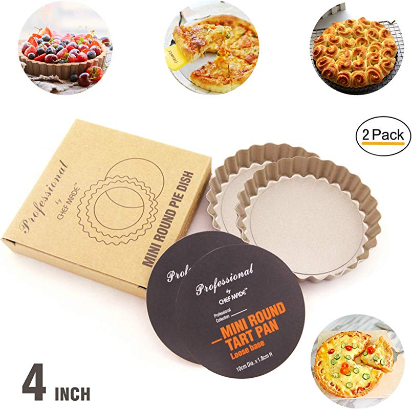 4 Inch Mini Round Quiche Pan Set Ottsuls Non Stick Carbon Steel Tart Pan With Removable Loose Bottom FDA Approved For Oven Baking 2 Pack