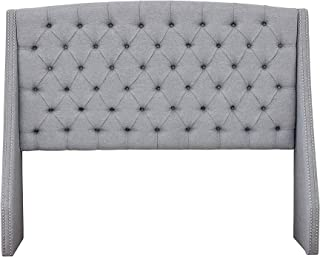 Madison Park Harper Upholstered Nail Head Trim Wingback Button Tufted Headboard Modern Contemporary Metal Legs Padded Bedroom Décor Accent, King Grey
