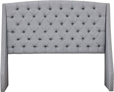 Madison Park Harper Upholstered Nail Head Trim Wingback Button Tufted Headboard Modern Contemporary Metal Legs Padded Bedroom