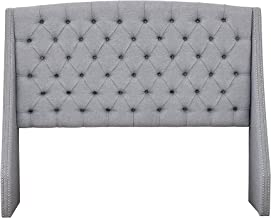 Madison Park Harper Upholstered Nail Head Trim Wingback Button Tufted Headboard Modern Contemporary Metal Legs Padded Bedroom Décor Accent, Queen, Grey