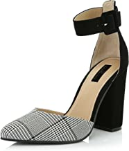 DailyShoes Women's Fashion Pointed Toe Chunky Ankle Strap Buckle High Heels Shoes