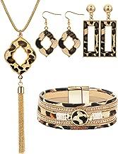 Sunmoon Statement Leopard Jewelry Set for Women Leopard Leather Bracelet Teardrop Drop Dangle Earrings Long Tassel Pendant Necklace Christmas Jewelry Gift