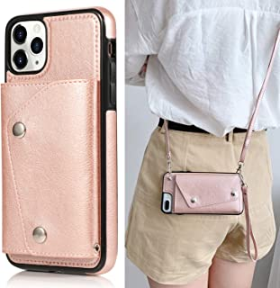 Fusicase for iPhone 11 Pro Max Card Holder Case with Neck Strap Crossbody Chain Handbag Wrist Strap Protective Cover with Credit Card Holder Slot PU Leather Wallet Case for iPhone 11 Pro Max Rose Gold