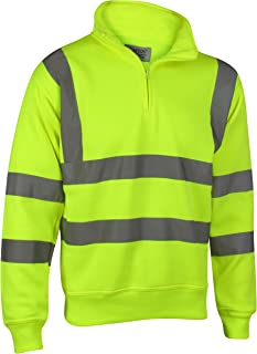 Rosennie Safety Sets,Hi VIS Viz High Visibility Bomber Jacket Workwear Security Concealed Hood Fluorescent Flashing Hooded Waterproof Work Wear