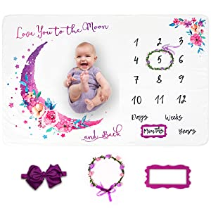LUKA&LILY Baby Monthly Milestone Blanket Girl, Milestone Blanket for Baby Girl, Baby Girl Gifts for Baby Shower Nursery Decor, Baby Month Blanket, Baby Girl Blanket, Baby Gifts for Newborn Girl, 60x40