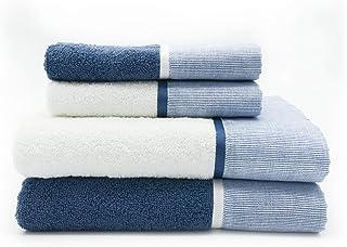 Lavea 4 asciugamani 2 teli doccia 2 asciugamani per ospiti argento 2 guanti da bagno Set di 10 asciugamani Elena 100/% cotone
