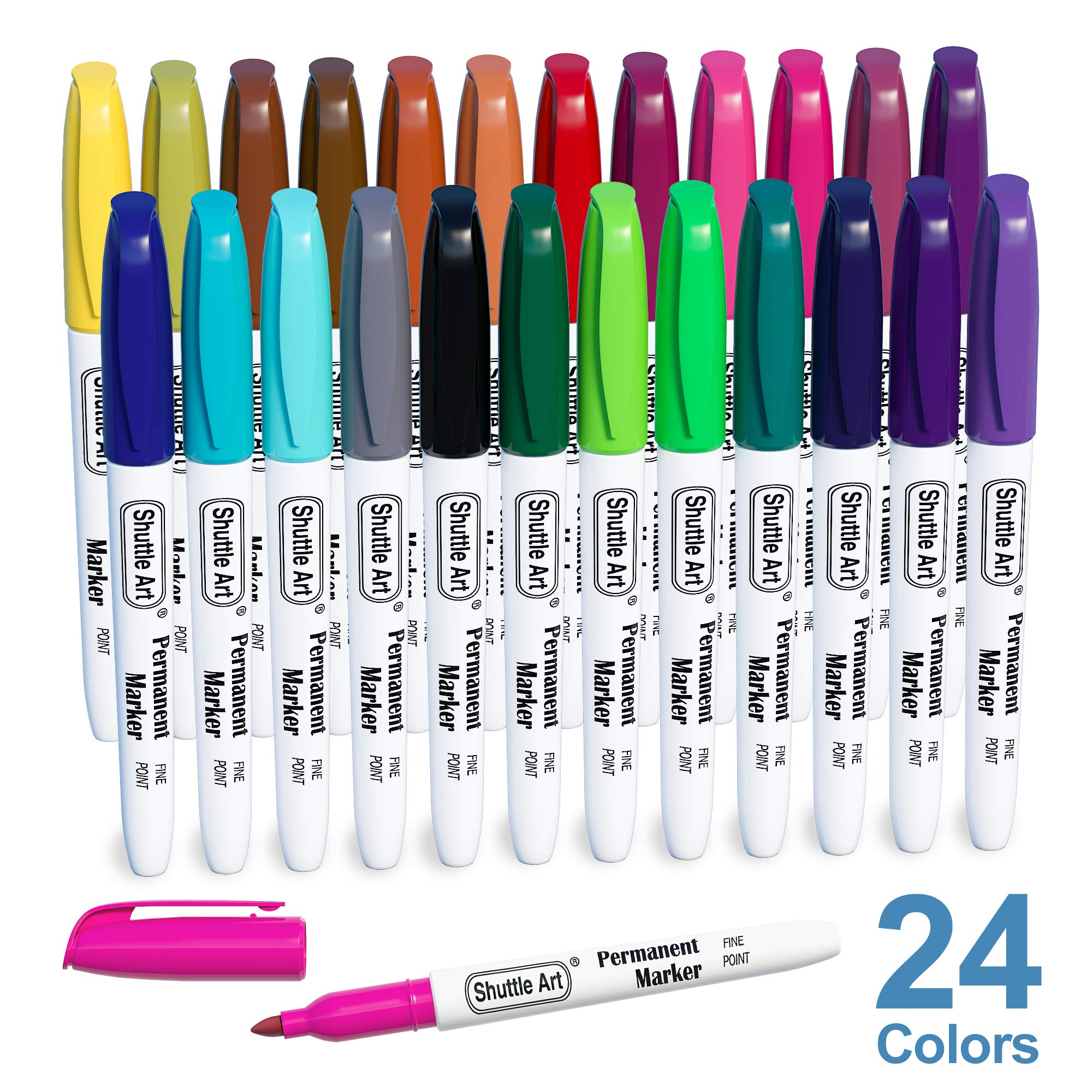 셔틀 아트 24색 마커 펜 세트 Shuttle Art Permanent Markers, 24 Colors Fine Point Assorted Colors Permanent Marker Set