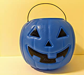 Blue Trick Or Treat Halloween Candy Bucket Pail Tote Bag