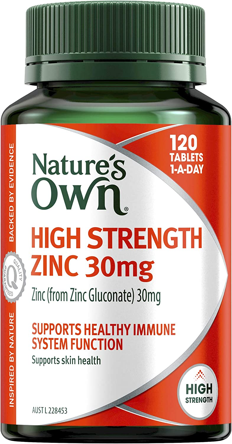 Nature's Own High Strength Zinc 30mg - Supports immune system function and healthy skin - Maintains men's reproductive health, 120 Tablets