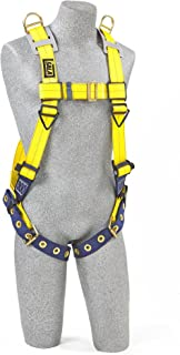 3M DBI-SALA Delta 1101254 Vest Style Harness, with Shoulder D-Rings, Tongue Buckle Legs, 420  lb Capacity, Universal, Yellow/Navy
