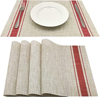 Familamb Placemats Set of 4 Vinyl Heat-Resistant Placemats for Dining Table Washable Stain Resistant Kitchen Table Mats Beige-Red