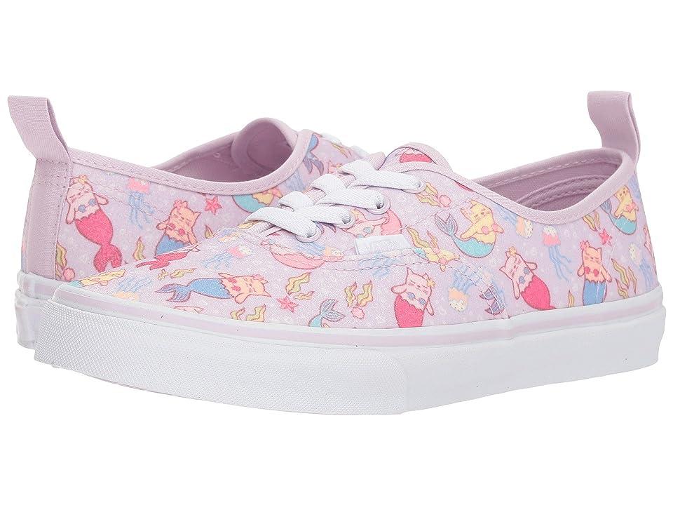 Vans Kids Authentic Elastic Lace (Little Kid/Big Kid) ((Purrrmaids) Lavender Fog/True White) Girls Shoes
