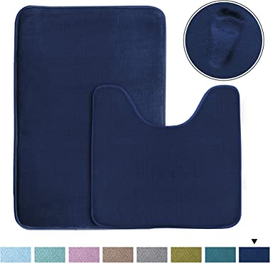 "Bath Mat Memory Foam Set Bathroom Rug Set Flannel Velvety Bath Mat Luxury Extra Soft and Absorbent Non Slip Rugs for Bathroom/Bedroom Washable(Curved Set 20""x 32"" Plus 20""x 20""U, Navy)"