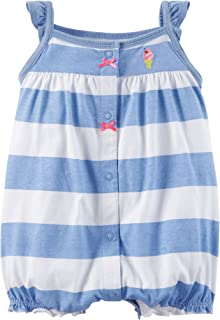 Baby Girls' Striped Snap-up Romper