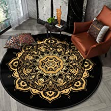 Cotton Round Area Rug,Hand Woven Mandala Printed Pattern Door Mat Indoor Floor Area Mat Machine Washable for Livingroom,Be...