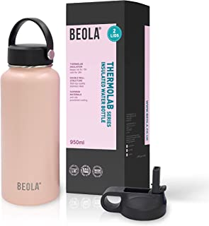 BEOLA 950ml Water Bottle 18/8 Stainless Steel 304 Double Wall Insulated Thermos Bottle with Straw Lid and wide mouth, 2 li...