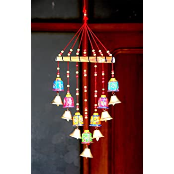 Craft Junction Handcrafted Bells Design Wood Windchime (18 inch, Multicolor)