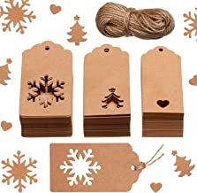 150 Pieces Christmas Gift Tags Kraft Gift Tags Snowflake, Heart and Christmas Trees Shapes with 20 Meters Twine for DIY Arts and Crafts, Christmas and Holiday (Brown)