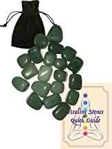 AYB Products Twenty (20) Tumbled Green Aventurine Gem Stones Approx. 10-15mm ea Healing Gem Stones Heart Chakra Attraction Luck Healing Energy with Black Pouch and Healing Stone Quick Guide