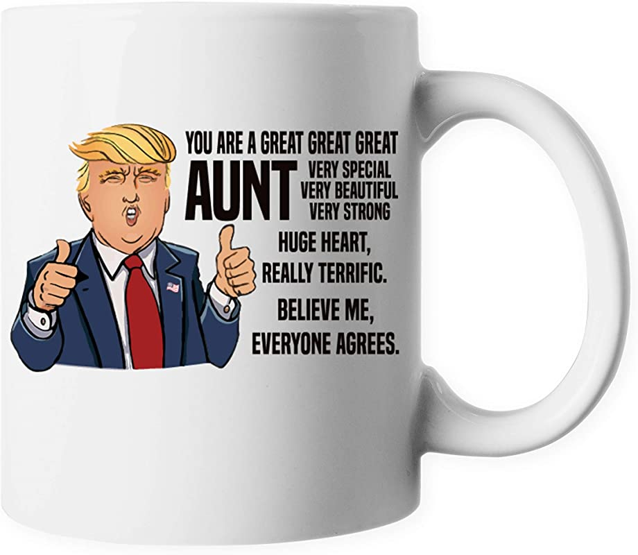 ELEPHIELD Mother S Day Gift Funny Trump Thumbs Up Great AUNT Ceramic Coffee Mug Tea Cup ELP101
