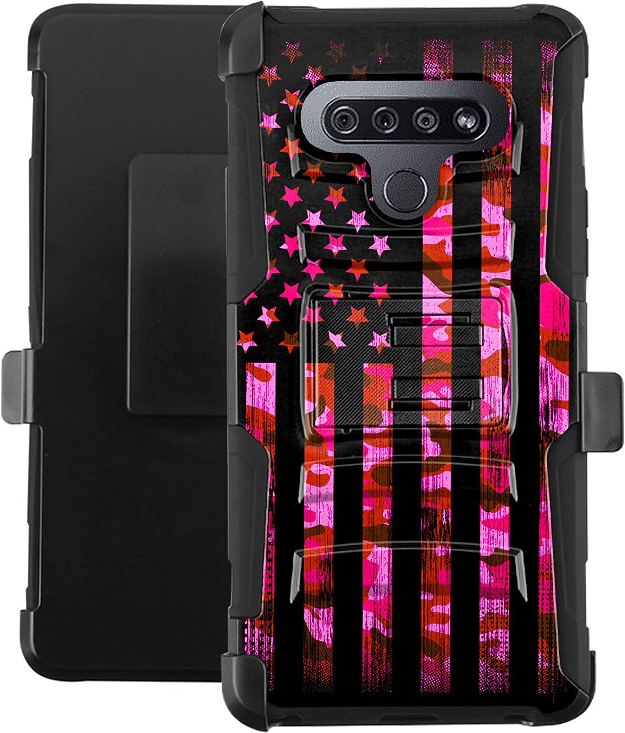 DALUX Hybrid Kickstand Holster Phone Case Compatible with K51 / Reflect- Pink Camo US Flag