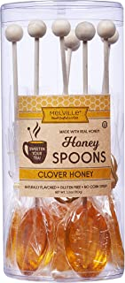 Melville Candy Real Clover Honey Spoons, 8 Lollipop Stirrers, Complements Gourmet Treats and Beverages - Coffee, Tea, Coco...