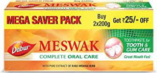 Dabur Meswak: India's No-1 Fluoride Free Toothpaste | Herbal paste made from pure extract of rare Miswak herb - 200 +200 gms